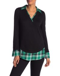 Laundry by Shelli Segal - Mixed Media Plaid Sweater - Lyst