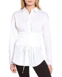 Trouvé - Corset Stretch Poplin Shirt - Lyst