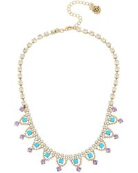 Betsey Johnson - Turquoise Stone Frontal Necklace - Lyst