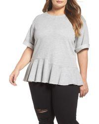 Caslon - Mixed Seam Ruffle Sweatshirt (plus Size) - Lyst
