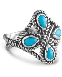 Relios - Sterling Silver Rope Bezel Turquoise Four Stone Ring - Lyst