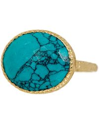 Argento Vivo - 18k Gold Plated Sterling Silver Turquoise Ring - Size 7 - Lyst