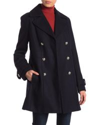Tommy Hilfiger - Double Breasted Wool Blend Coat - Lyst