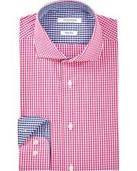 Isaac Mizrahi New York | Cherry Check Spread Collar Long Sleeve Modern Fit Dress Shirt | Lyst
