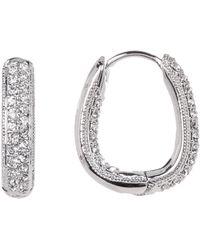 Nadri - Crystal Pave Thin Huggie Earrings - Lyst
