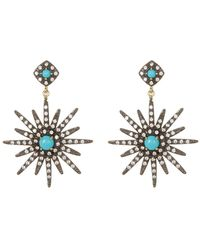 Adornia - 14k Gold Plated Turquoise & Swarovski Crystal Accented Starburst Earrings - Lyst