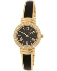 Anne Klein - Women's Glossy Black Bangle Watch - Lyst