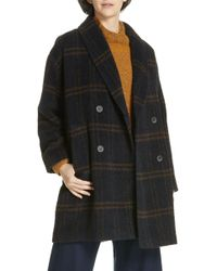 Eileen Fisher - Double Breasted Plaid Alpaca Blend Coat (regular & Petite) - Lyst