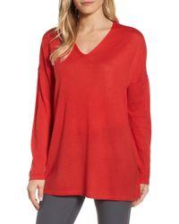 Eileen Fisher - Merino Wool Tunic Sweater - Lyst