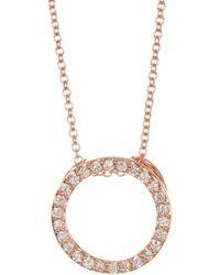 Bony Levy - 18k Rose Gold Pave Diamond Circle Pendant Necklace - 0.21 Ctw - Lyst