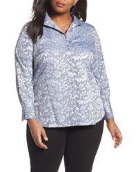Foxcroft - Rhonda Lace Jacquard Shirt (plus Size) - Lyst
