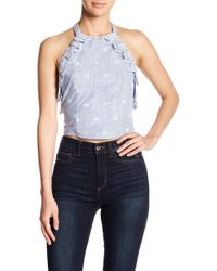 Romeo and Juliet Couture - Eyelet Inset Embroidered Halter Top - Lyst