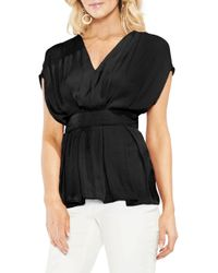 Vince Camuto - Empire Waist Hammered Satin Blouse - Lyst