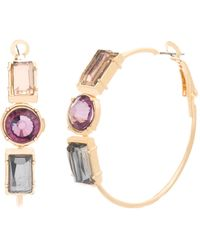 Catherine Malandrino - Multi-colored Crystal Accented Hoop Earrings - Lyst