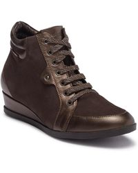 Mephisto - Vinda Leather Lace-up Wedge Boot - Lyst