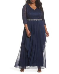 Alex Evenings - Embellished Lace & Tiered Chiffon Gown (plus Size) - Lyst