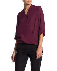 Pleione Shadow Stripe Surplice Roll Sleeve Top - Purple
