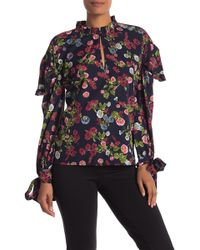 4b2f854503a92a W118 by Walter Baker - Woman Vanessa Cutout Floral-print Crepe De Chine  Blouse Navy