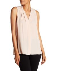 Vince Camuto - Pleated V-neck Tank Top - Lyst