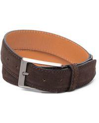 Trafalgar Alston Leather & Suede Belt - Brown