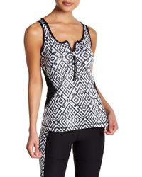 X By Gottex - Open Zip Fitted Geometric Tank - Lyst