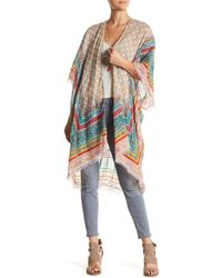 Spun By Subtle Luxury - Embroidered Trim Print Kimono - Lyst