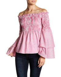 0b40e473575a70 Lyst - Ted Baker Imygen Floral Off-the-shoulder Blouse in Blue