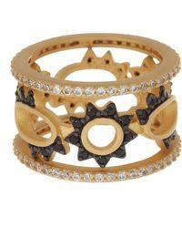 Freida Rothman - 14k Gold & Black Rhodium Cz Stack Ring Set - Set Of 3 - Lyst
