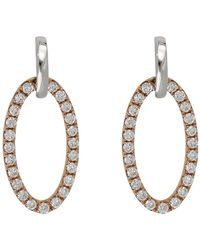 Bony Levy - 18k Two-tone Gold Pave Diamond Open Oval Drop Earrings - 0.23 Ctw - Lyst