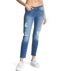 True Religion | Sara Fray Hem Cropped Cigarette Jeans | Lyst