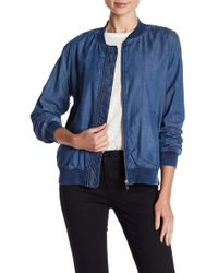 Two By Vince Camuto | Washed Denim Bomber Jacket | Lyst