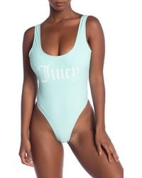 ccafe1e231fd7 Juicy Couture Logo High-cut One-piece Swimsuit in Pink - Lyst