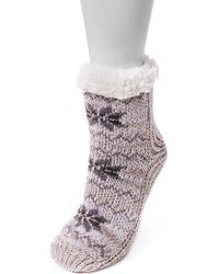 Muk Luks - Faux Fur Lined Pieced Cabin Socks - Lyst