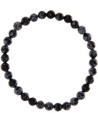 Link Up - 6mm Snowflake Obsidian Beaded Bracelet - Lyst