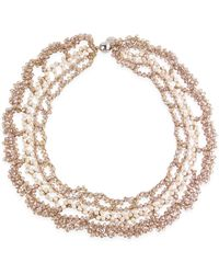 Saachi - Champagne Floral Crochet Necklace - Lyst