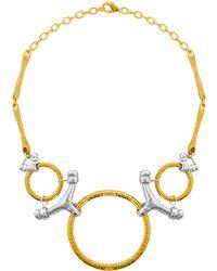 Karine Sultan - Two-tone Bib Necklace - Lyst