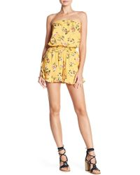 Angie - Smocked Waist Floral Print Romper - Lyst
