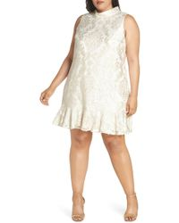 Lyst - Neiman Marcus Tiered Chiffon Shift Dress Plus Size in Red