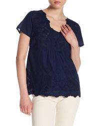 Skies Are Blue - Eyelet Lace Cutout Tee - Lyst
