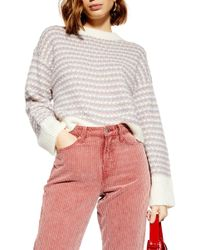 TOPSHOP - Waffle Stitch Sweater - Lyst