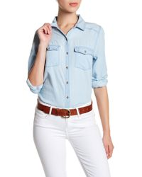 Caslon - Long Sleeve Chambray Shirt (petite) - Lyst