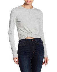 Lush - Knot Front Long Sleeve Crop Top - Lyst