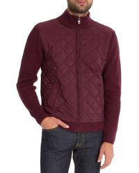 7 Diamonds - 'gatti' Quilted Panel Lambswool Knit Jacket - Lyst