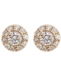Ron Hami - 14k Yellow Gold Round-cut Diamond Halo Stud Earrings - 0.13 Ctw - Lyst