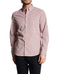 Kenneth Cole | Long Sleeve Check Trim Fit Shirt | Lyst