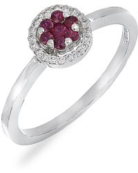 Bony Levy - 18k White Gold Ruby & Diamond Flower Stackable Ring - 0.07 Ctw - Lyst