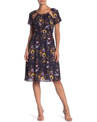 Line & Dot - Faye Cutout Print Dress - Lyst