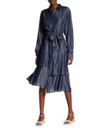 Go Couture - Modest Ruffle Bottom Chambray Tie Dress - Lyst
