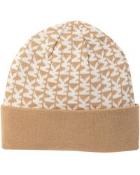 a06cdb3a0d3 Lyst - Michael Kors Pompom Cable Knit Beanie in Natural