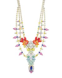 Steve Madden - Crystal Glass Bib Necklace - Lyst
